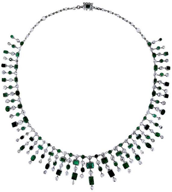 Art Deco emerald and diamond fringe necklace.