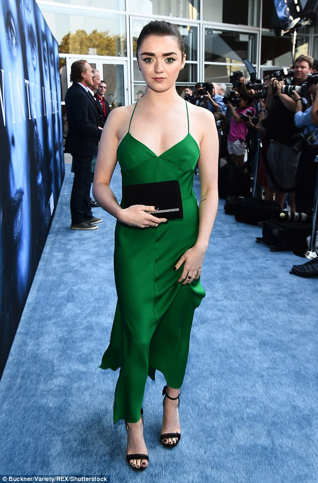 Maisie Williams looks gorgeous in green as the stars of Game Of Thrones arrive for the season 7 premiere in Los Angeles