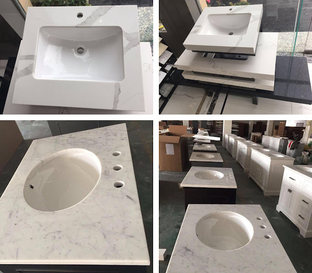White Quartz Vanity Tops Chinese Quatz Stone Bathroom Countertops