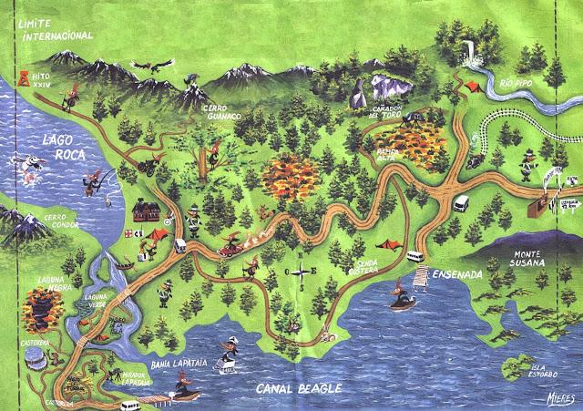 Mapa do Parque Nacional Tierra Del Fuego