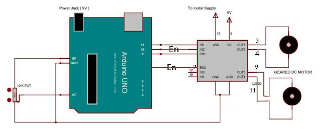 connection m driver to arduino