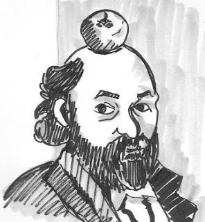 Ink drawing of Paul Cezanne balancing an apple on his head by David Borden.