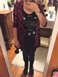 moon tank red plaid ootd