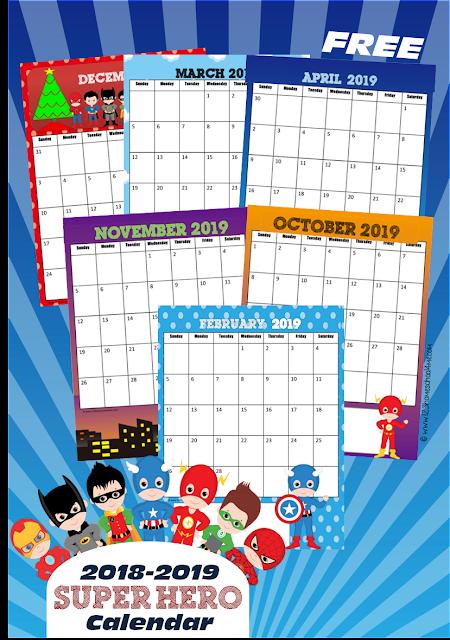 2018-2019-super-hero-boy-printable-calendar-toddler-preschool-kindergarten-first-grade-2nd
