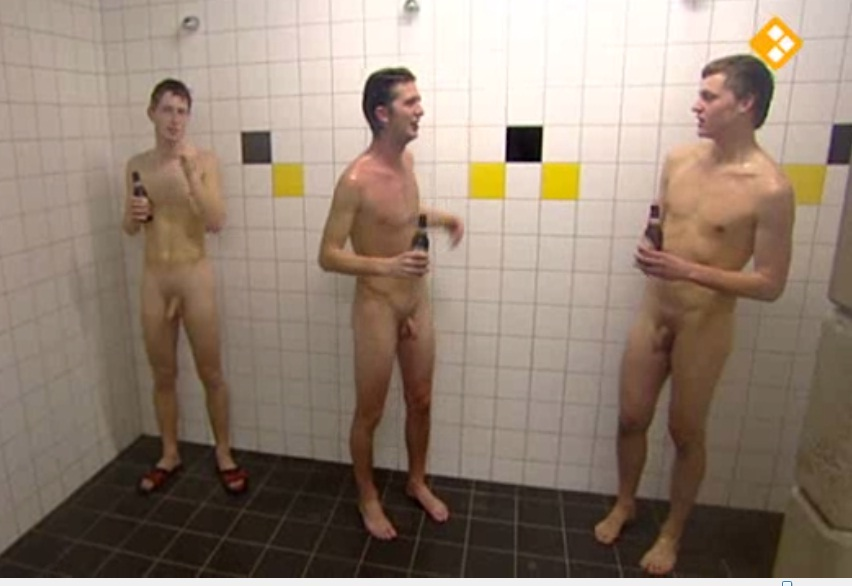 Nude group locker room shower