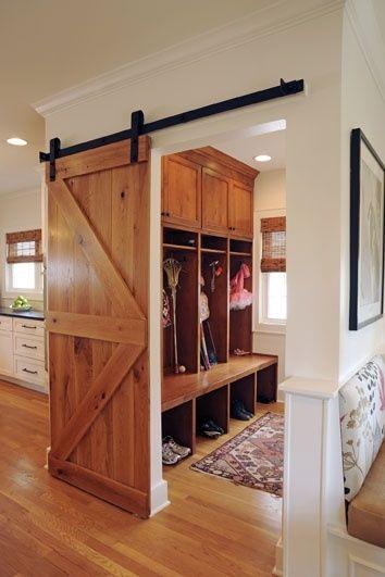 image result for alder wood rustic sliding barn door mud room kitchen