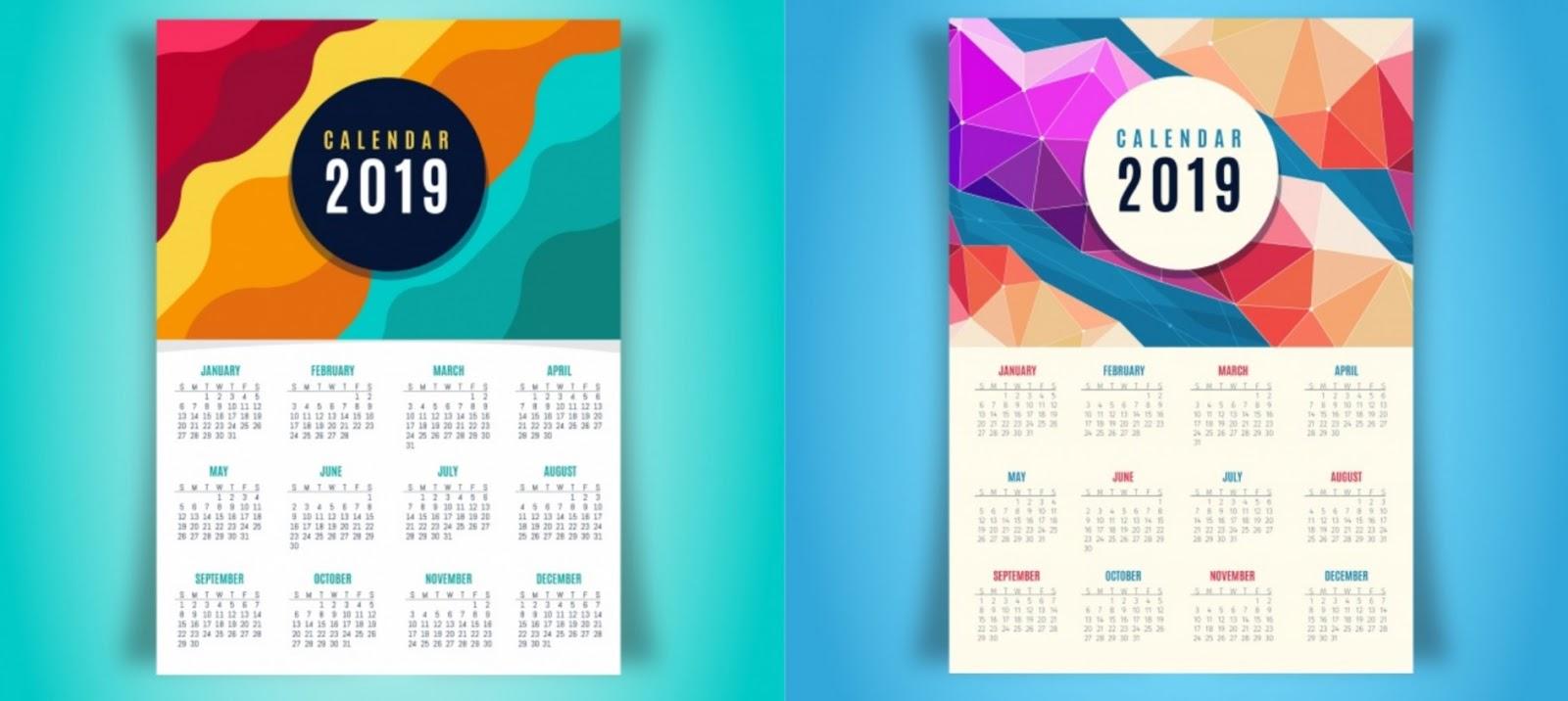 Download Kalender 2019 Portugal, Indonesia dan Spanyol Format PNG dan PDF [Lengkap]