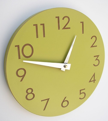 round wall clock, chartreuse green