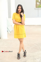 Actress Poojitha Stills in Yellow Short Dress at Darshakudu Movie Teaser Launch .COM 0006.JPG