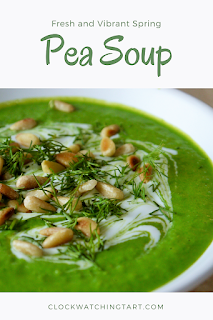 Spring Pea Soup made with fresh peas and spinach, topped with creme fraiche, dill and toasted pinenuts.  www.clockwatchingtart.com
