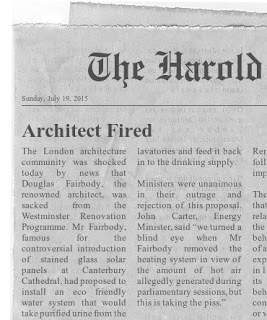 Funny Architect fired newspaper clipping