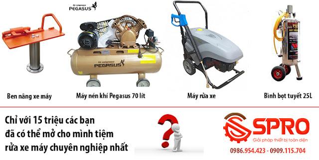 Thiết bị rửa xe máy chuyên nghiệp gồm những gì ?