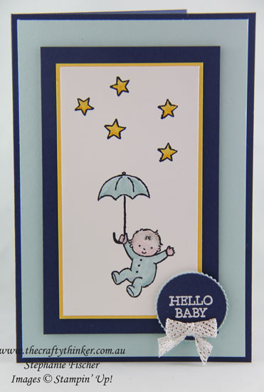 www.thecraftythinker.com.au, Moon Baby, baby card, #thecraftythinker, Stampin Up Australia Demonstrator, Stephanie Fischer, Sydney NSW