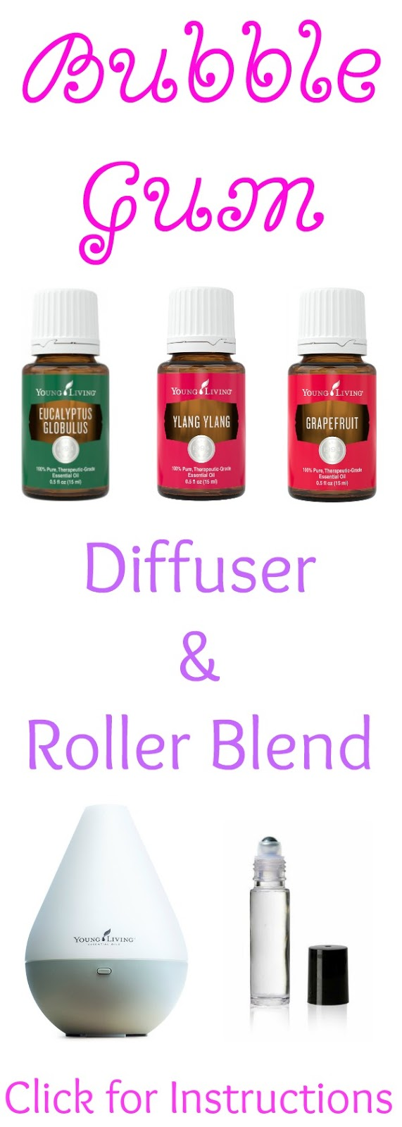 A fresh and fun diffuser or roller blend to use with Eucalyptus, Ylang Ylang and Grapefruit Young Living Essential Oils! You and your home will smell absolutely amazing! Bubble Gum Diffuser and Roller Blend from Mama Loves Her Oils!