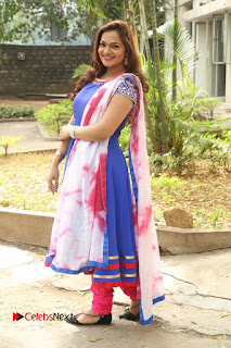 Actress Ashwini Stills in Blue Chudidar at Ameerpet Lo Release Press Meet  0226.JPG
