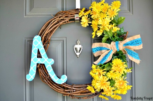 Light and Bright Monogram DIY Wreath from Tastefully Frugal