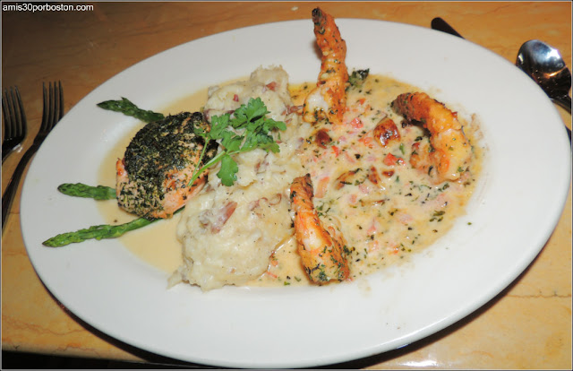 Herb Crusted Salmon and Shrimp Scampi