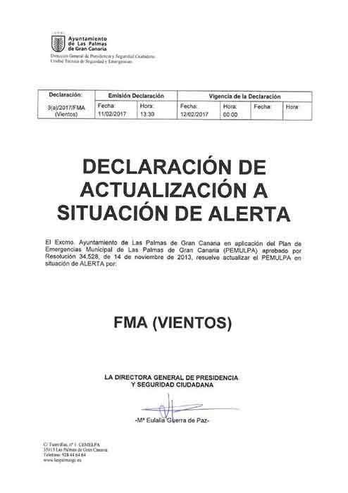 Las Palmas de Gran Canaria en alerta por vientos y costeros, domingo  12 febrero
