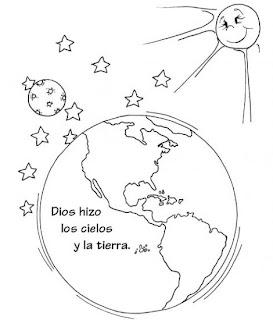 Dibujo de La Creacion del Cielo y La Tierra para colorear