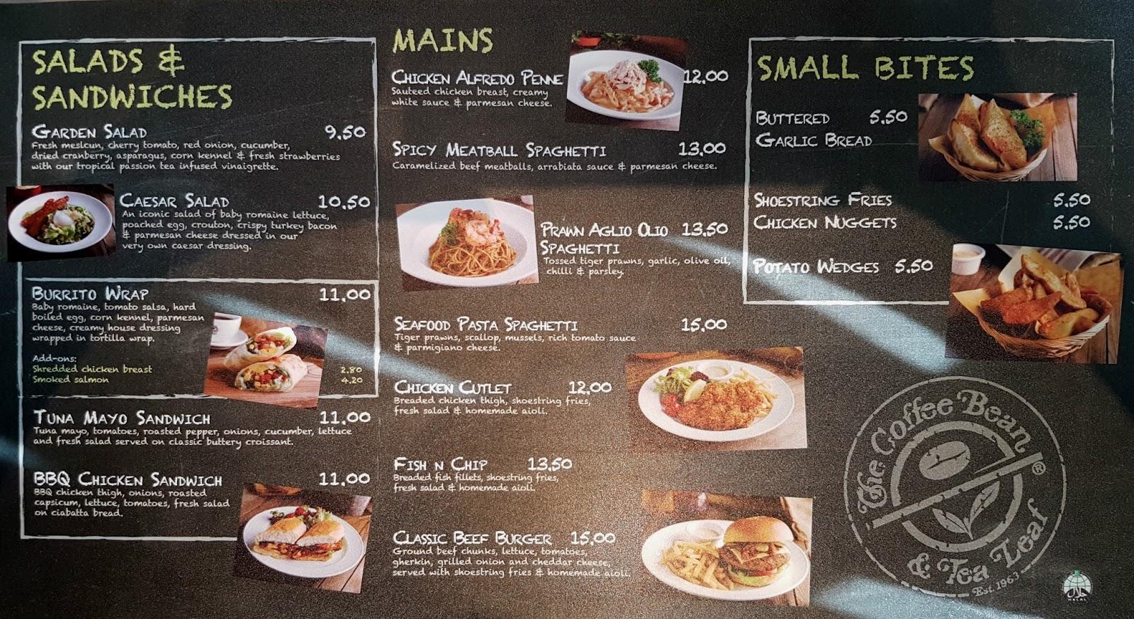 Coffee Bean Food Menu Los Angeles