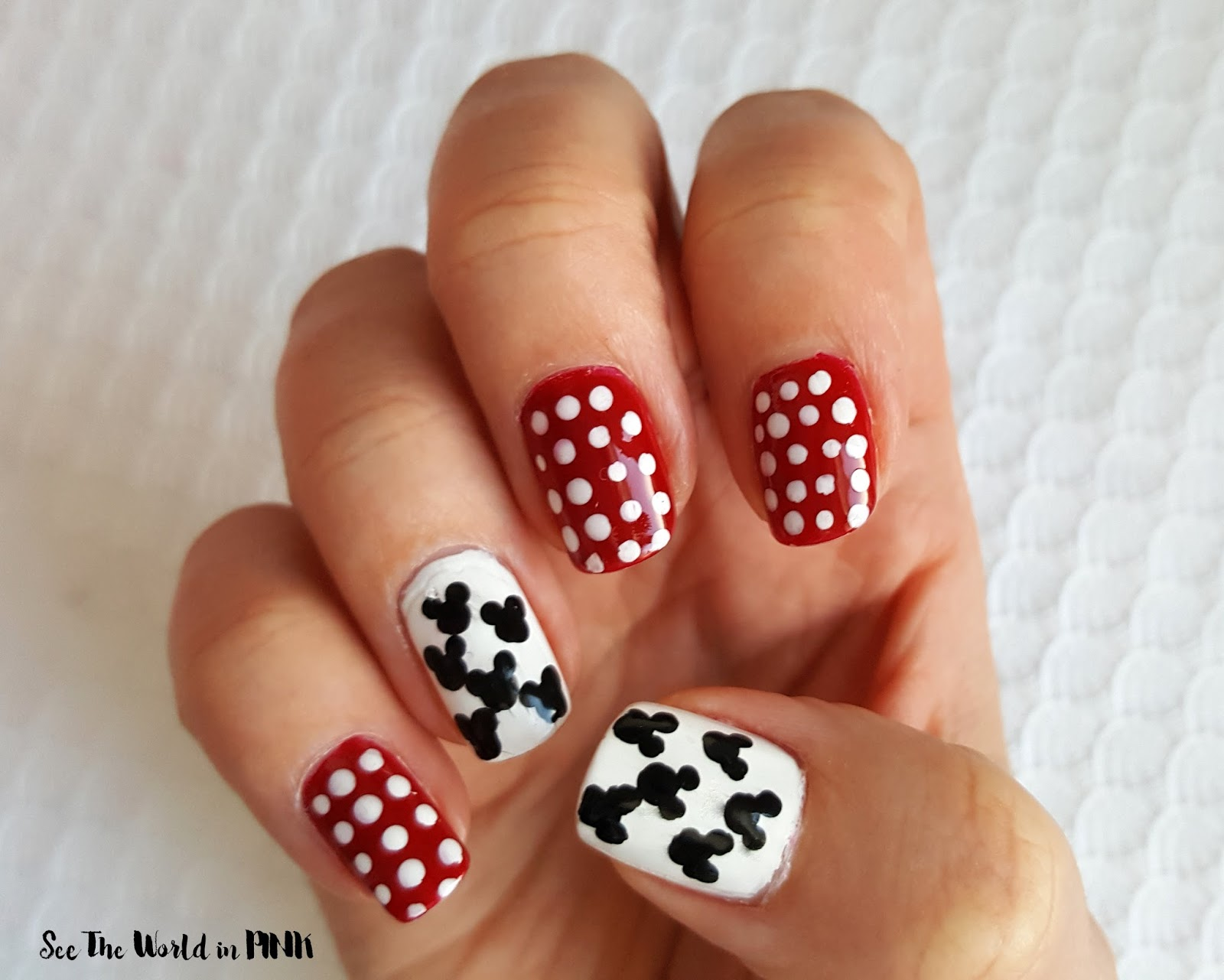 Disney Manicure Monday Mickey Mouse Polka Dot Nail Art See The
