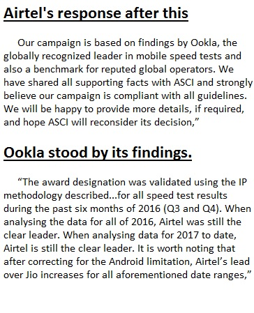 Airtel statement on ASCI decision