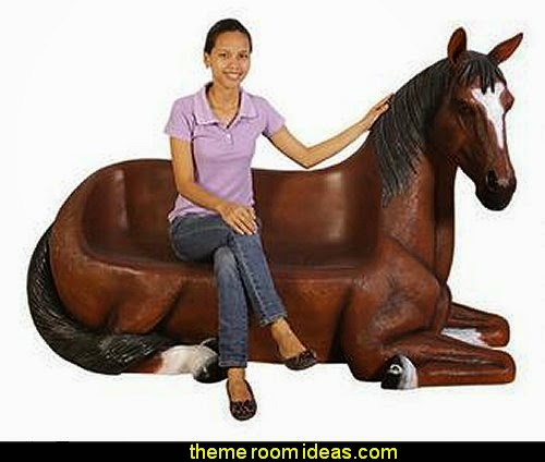 Saddle-Up Horse Bench Sculpture  Farm theme bedroom decorating ideas - horse theme bedroom decorating ideas - girls horse theme bedrooms - farm animals decor - Country themed bedroom - John Deere decor - John Deere bed - John Deere wall decals - Barnyard Bedroom Theme - Farm themed wall decals - farm animals kids wall decor - tractor beds