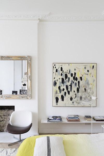 décoration chambre cheminée design jaune blanc