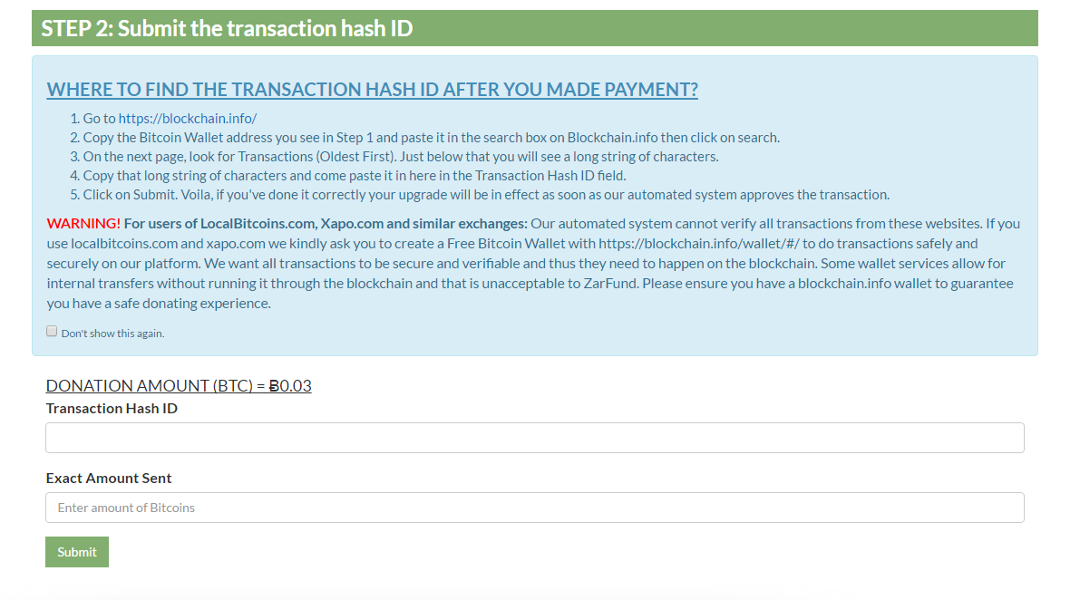How to upgrade zarfund account and earn upto 164btc how to earn go back to zarfund to submit the hashid paste the transaction hash id you copied from blockchain and paste in the box below enter the amount you sent ccuart Gallery