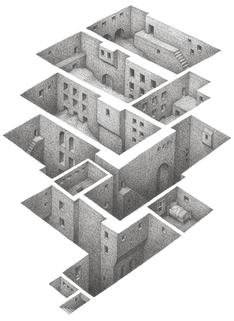 07-Gound-Came-In-Matt-Borrett-Hiding-in-a-Safe-Architectural-Labyrinth-Drawing-www-designstack-co