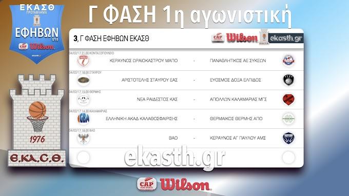 Το πρόγραμμα των αγώνων της τρίτης φάσης και το πανόραμα των αποτελεσμάτων της δεύτερης φάσης του πρωταθλήματος εφήβων της ΕΚΑΣΘ