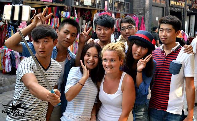 Selfie de chinos en Pingyao