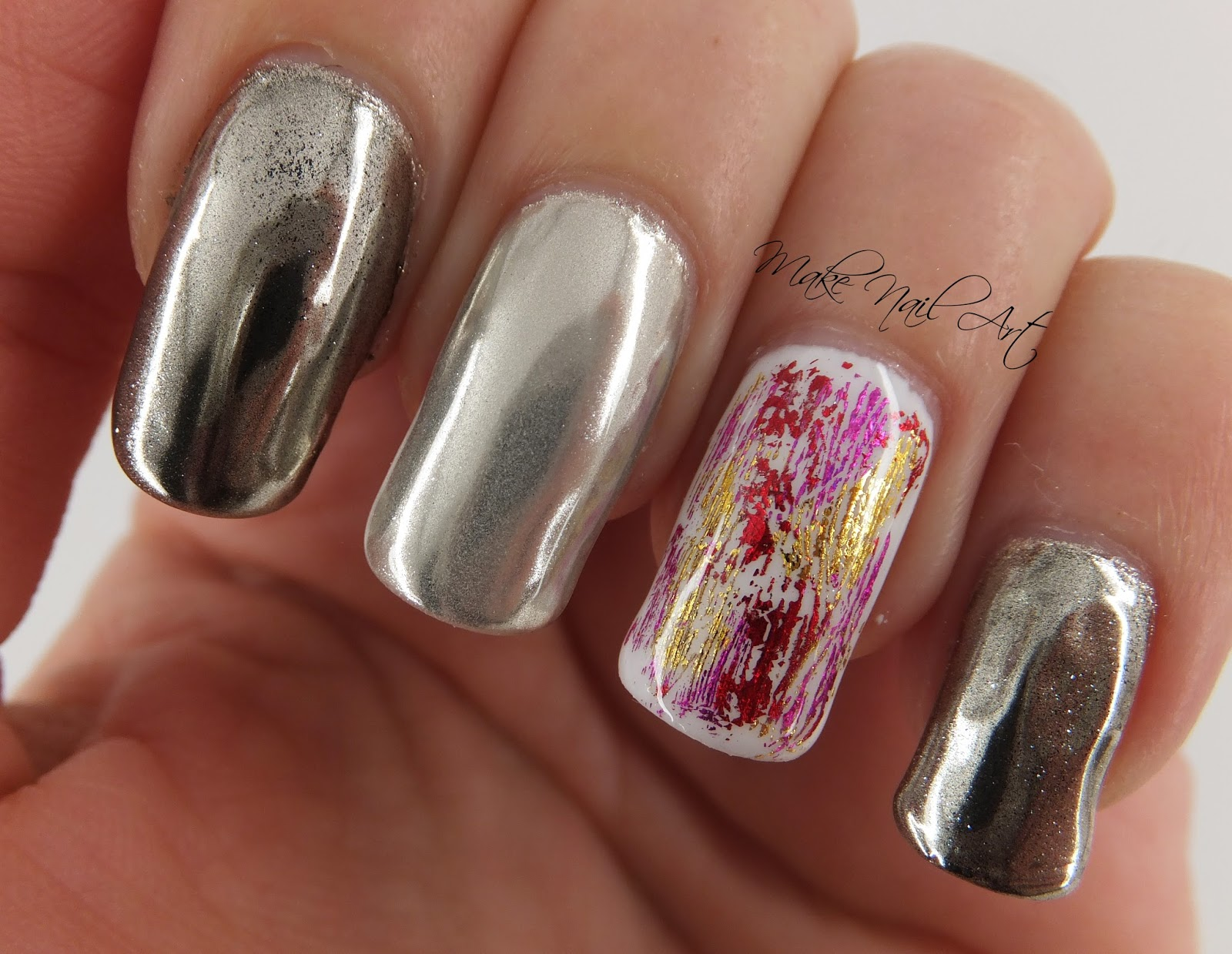 Make Nail Art: Mirror Powder And Foil Gel Polish Nails Nail Art ...
