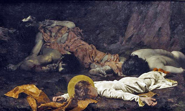 Death of Tarsicius, José Moreno y Carbonero, Macabre Art, Macabre Paintings, Horror Paintings, Freak Art, Freak Paintings, Horror Picture, Terror Pictures