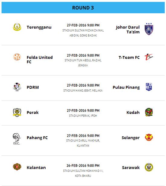 Jadual Perlawanan Liga Super Malaysia 2016