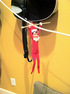 Ziplining Elf on Shelf by Ruby and Myrtle