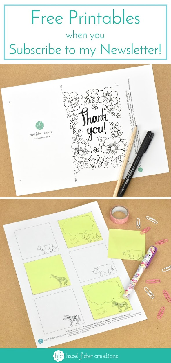 Free Printables when you subscribe to my Newsletter Hazel Fisher Creations