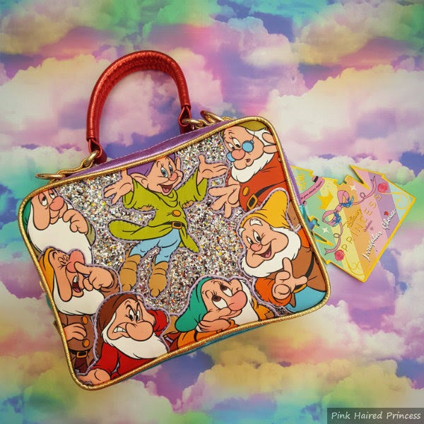 glitter dwarf handbag on rainbow cloud background
