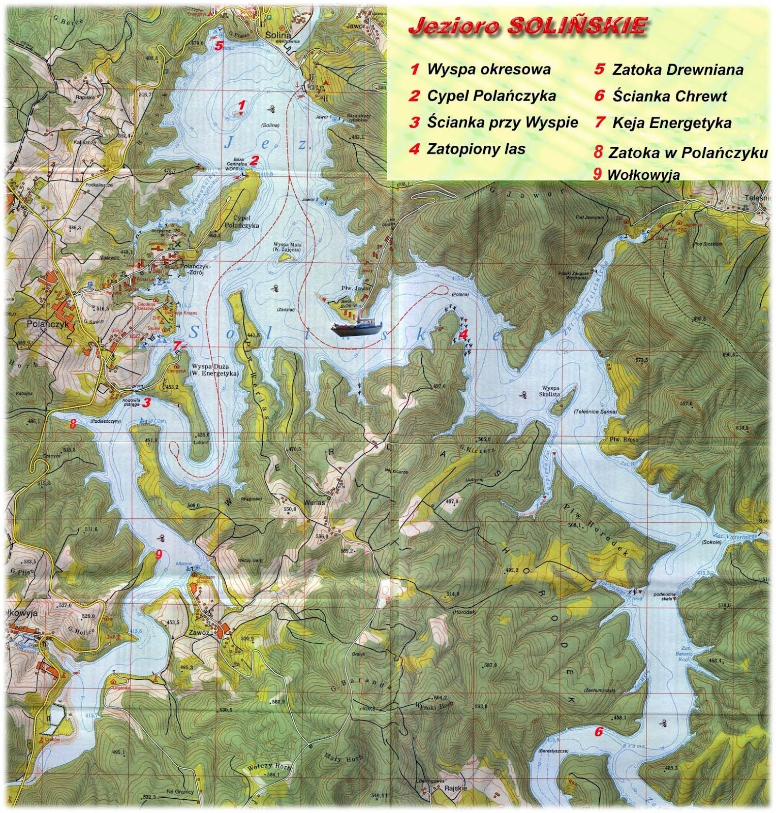 Bieszczady Mapa Batymetryczna Jeziora Solinskiego
