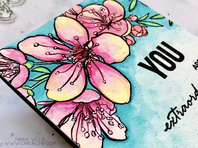 #mariawillis, #cardbomb, #card, #cards, #cardmaking, #thedailymarkerthirtyday,  #handmadecards, #handmade, #watercolor, #stamp, #ink, #paper, #danielsmith, #danielsmithwatercolors, #flowers, #art, #color, #diy, #ellenhutson,