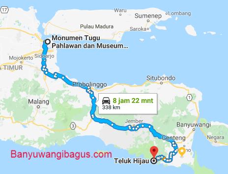 Surabaya-Teluk Hijau via jalur barat.