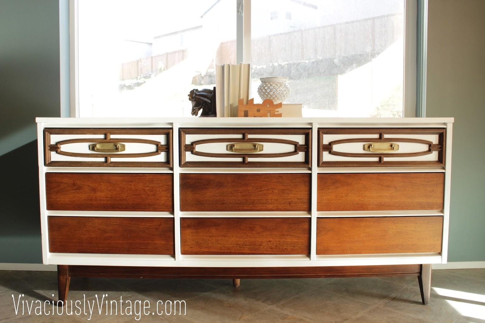 2 tone midcentury MCM Dresser