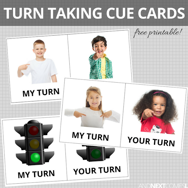 Free printable visual turn taking cue cards for kids from And Next Comes L
