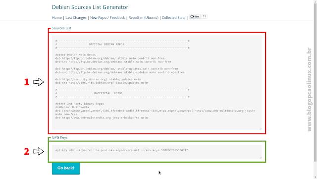 Exibindo a Sources List e logo abaixo, os comandos para importar as chaves de assinatura dos repositórios