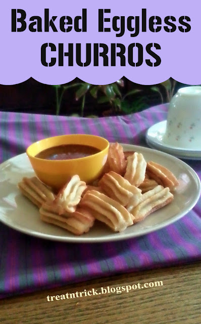 Baked Eggless Churros Recipe by Treat and Trick