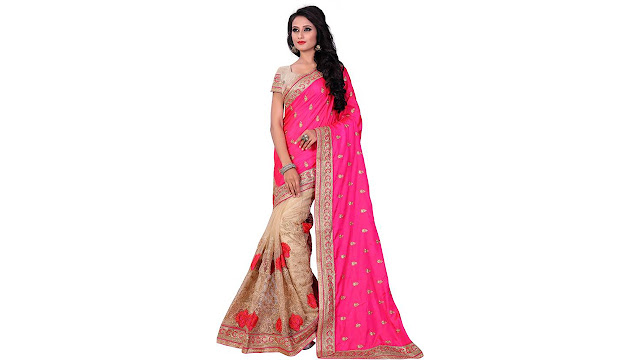 M.S.Retail Embroidered Bollywood Silk, Net Saree  (Pink)