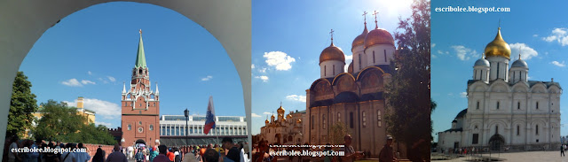Viaje a Rusia: Kremlim de Moscú. Entrada (de fondo, edificio donde trabaja Putin y pabellón de convenciones), y catedrales de la Dormición, la Anunciación y el Arcángel