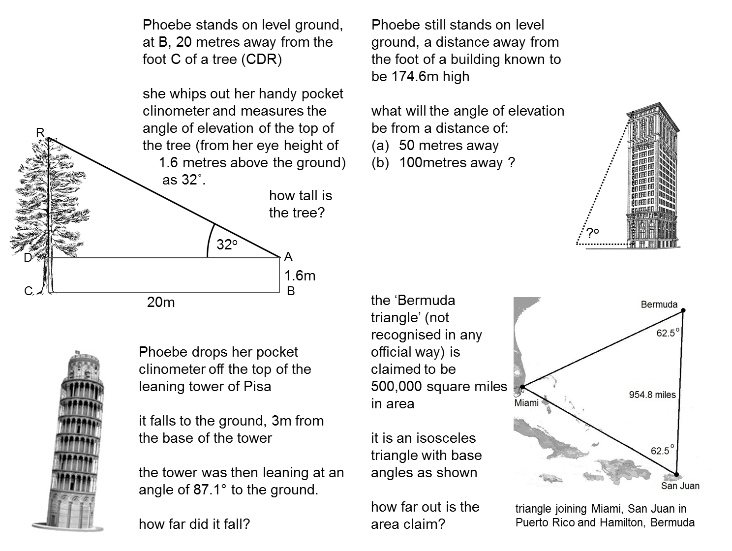 Picture on right triangle trig word problems worksheet