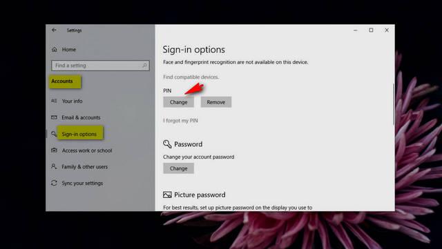 كيفية تعيين رمز تعريف شخصي أبجدي رقمي على ويندوز Windows 10