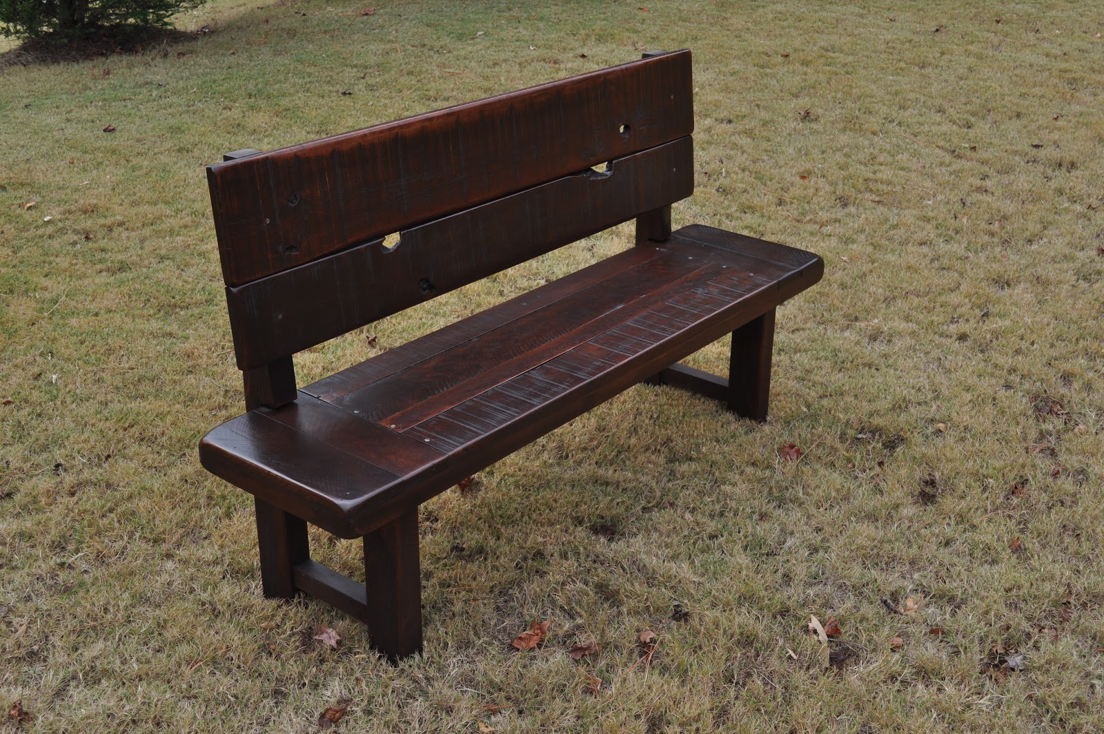 Rustic Distressed Bench With Back